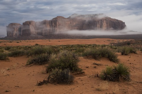 Lower Monument Valley shakes off its morning mist.